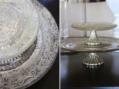 dish, mercuri glass, mercury glass, cakes, cake stands, cake plates, thing, glass cake