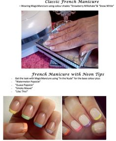 Some ideas for your Do-At-Home French Manicures.     Whether you're a lady who prefers the more classic look try using 'Strawberry Milkshake' as your base colour with 'Snow White' for the tips.     Or if you're someone who loves to play with different colours, try 'In the Nude' as your base colour then 'Watermelon Popsicle' 'Guava Popsicle' and 'Lilac This!' for the tips.     Whichever style you prefer, we've got you covered!
