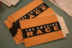 Amazing Race Game!  Could be a fun birthday party or family reunion idea.  She has downloadable templates for EVERYTHING!!  She also has a kids version!
