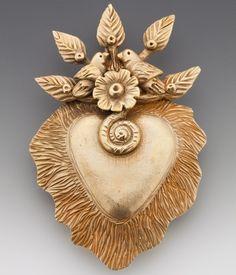 clay heart, angulo pin, clay pendant, metal clay, tree of life