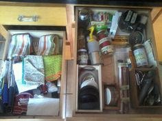 organized kitchen drawers w/jars & cigar boxes labeled with masking tape & sharpie. chop sticks, candles, sponges, & twist ties no longer an intermingled mess