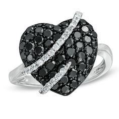 Black and White Diamond Heart Ring