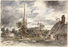 Salisbury Cathedral seen from the north-west, with cottages, John Constable, 1829