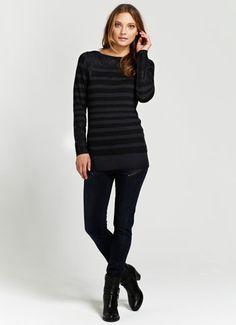 Black & Ink Stripe Lace Detail Knit