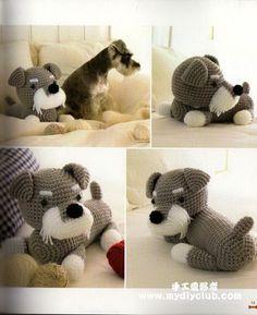 FREE Schnauzer Dog Amigurumi Crochet (Chart) Pattern / Tutorial  Okay geen kat maar toch ook erg leuk :)