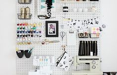 Pegboard is a great way to keep sewing notions and tools organized.