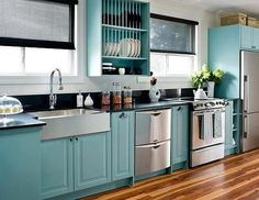 plate racks, cabinet colors, blue, dream, colorful kitchens