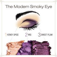 The Modern Smoky Eye using Mary Kay Mineral Eye Colors: Honey Spice, Iris, and Sweet Plum