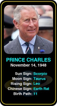 Celeb #Scorpio birthdays: Prince Charles' astrology info! Sign up here to see more: https://www.astroconnects.com/galleries/celeb-birthday-gallery/scorpio?start=120 #astrology #horoscope #zodiac #birthchart #natalchart #princecharles