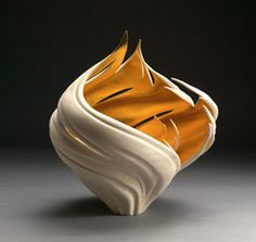 Jen McCurdy wheel-thrown porcelain: Cut Wheat Vessel