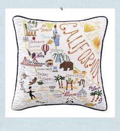 California Pillow. Welcome to California. Intriciate embroidered details of the California coastline and inland landmarks and destinations are created. Commemorate a special vaction or pay homage to your home state. Or place in the guest room of your California home for a unique visitors guide.