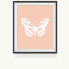 Nursery Art Print, Pink Butterfly Print, Nursery Art Print, Nursery Wall Art, Nursery Wall Decor, Baby Nursery Decor, Kids Room Print on Etsy, $5.00