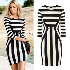Womens Celeb Black White Striped Optical Illusion Bodycon Slim Dress vestidos casual free shipping plus size xl $15.99