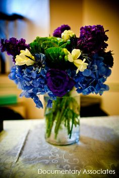 october wedding centerpieces (purple and blue) - Google Search