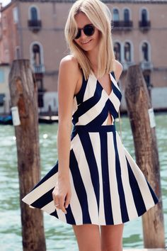 Blue and White Striped Cut Out Flare Dress