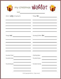 Printable - Christmas Wish List