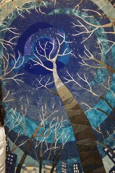 the night through the trees quilt. When I become a super-awesome quilter with mad skills like Martha Stewart and her holiday decorating ideas, I think I'll try to make this. I think that may be a long way off though... tree quilt, night skies, decorating ideas, wall quilts, trees, tree art, mosaic, night tree, starry nights