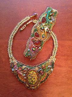 bracelet, art bead, silk ribbon, bead embroideri, swarovski crystal