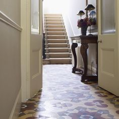 Victorian hallway with encaustic tiles