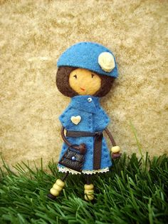 felt doll brooch...the girl with the blue coat