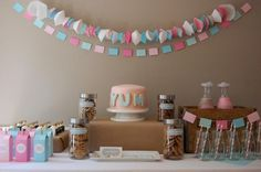 Tablescape. #milk, #cookies, #party, #vintage, #pink, #blue, #tablescape, #garland