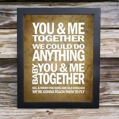 11x14 Dave Matthews Band Song Lyric Print - You and Me Together - typography subway style - custom colors