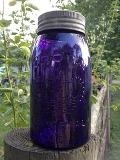 Gorgeous Royal Purple Vintage Mason Jar