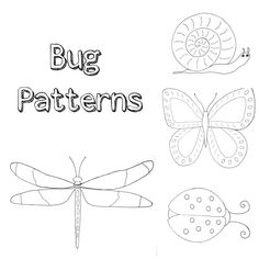 Bug Patterns - for painting, embroidery, appliques or coloring pages!