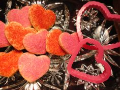 Valentines Day Heart Shortbread Cookies with pink and red sprinkles 2 Dozen