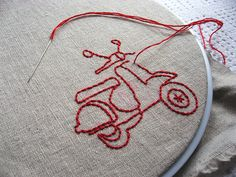 Iron on pencil transfer. So neat to be able to write then transfer and stitch. Good idea for quilt labels