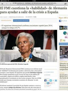 """Sin desperdicio la foto de Lagarde en abc.es / 'El FMI cuestiona la """"habilidad"""" de Alemania para ayudar a salir de la crisis a España' https://twitter.com/mberzosa/status/324192257571958784"""