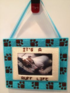 A Ruff Life Dog Frame in Plastic Canvas by Plasticified on Etsy, $18.00