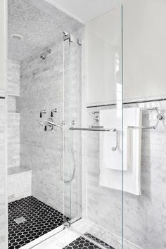 White Marble With Black Shower Floor Tile Interior Ideas