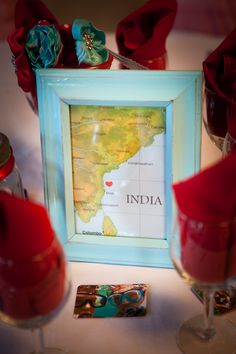 Garage sale photo frames, spray painted, maps with hearts