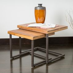 Braeden Sandblast Rustic Wood Iron Nested Tables (Set of 2) | Overstock™ Shopping - Great Deals on Coffee, Sofa & End Tables