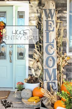 fall wood sign, blue doors, welcome signs, door colors, front doors, grain cottag, fall porches, wood grain, front porches