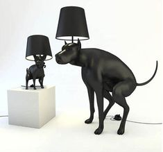 Two special lamps will have you talking about them inclusively at the dog park – the Pooping Dog Lamps from UK artist Whatshisname. It's really a conversation starter duo. There is a bigger black dog and a smaller one so which ever you'd choose,you still got one pooping dog in...  #luxurious #decor #idea- #home #house #Dog, #In, #Lights, #On, #Poop, #Stepping, #The, #To, #Turn