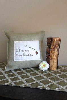 Hawaii State Hawaiian Love Message Pillow by HandmadeDesignsbyBB