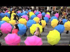 Umbrella flash mob dance....singing in the rain
