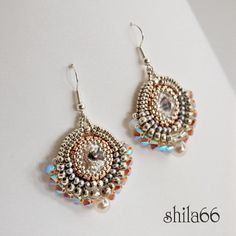 bead earrings, náušnic, beauti beadwork, jewelri idea, shilabead, jewelri delight