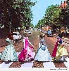 Disney princesses crossing Abbey road