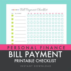 Bill Payment Checklist - Printable PDF - Custom Organizer Planner - INSTANT DOWNLOAD via Etsy