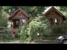 Salvaged tiny homestudio: tin can siding, paper bag wallpaper