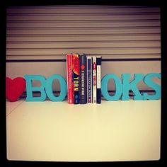 Totally want for my work desk!  Quick and easy bookends! #DIY #books #reading #crafts #bookends #bookish