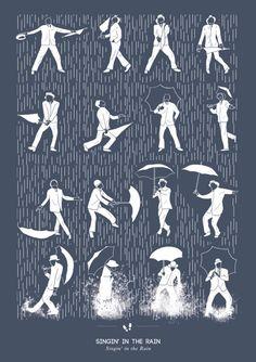 film, graphic, dance moves, singing, umbrella, art prints, rain dance, posters, gene kelly