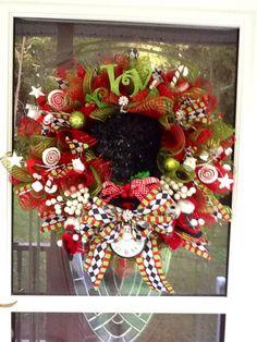 Christmas Top hat Wreath wreath fir christmas by WreathsEtc