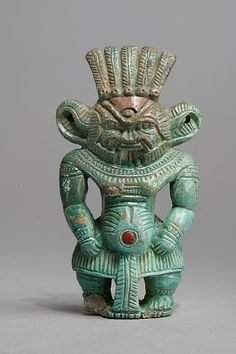 Bes figure, New Kingdom, Dynasty 18,  ca. 1550–1295 B.C., Northern Upper Egypt, Abydos, Cemetery D