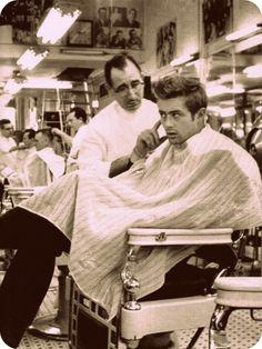 James Dean haircut.