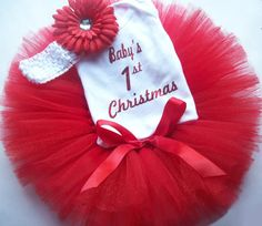 Baby's First Christmas Tutu Set 1st by DollarGoodySupplies on Etsy, $24.99