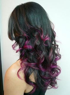 Hey I just found this, I know it's crazy, but please tell me, purple highlights, maybe? Purple Hair, Dark Hair, Colors, Beauti, Hair Style, Hairstyl, Highlight, Hair Color, Black
